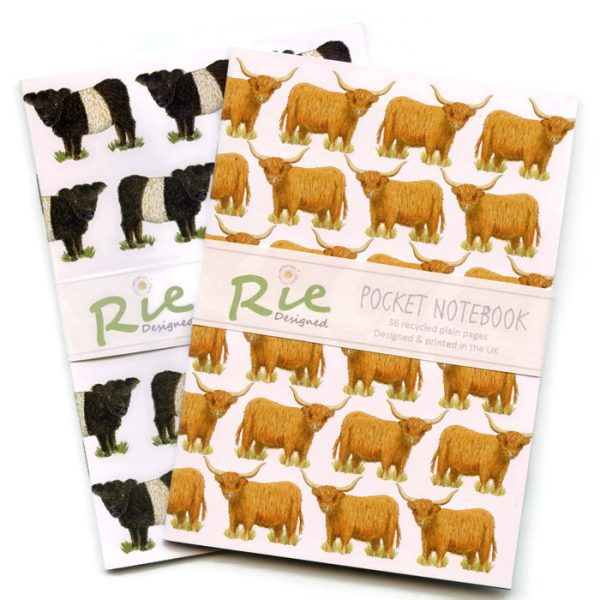 beltie and highland cow A6 notebooks