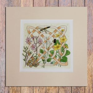 celtic flora bog mounted print