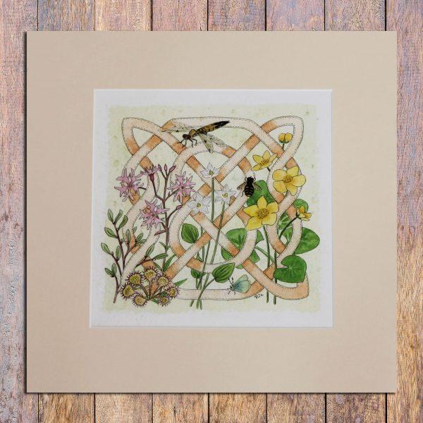 celtic flora bog mounted print