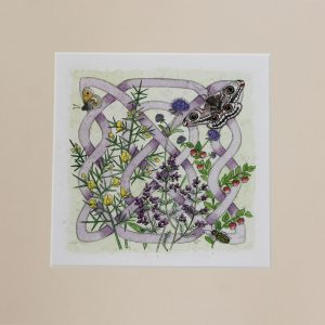 celtic flora heath mounted print