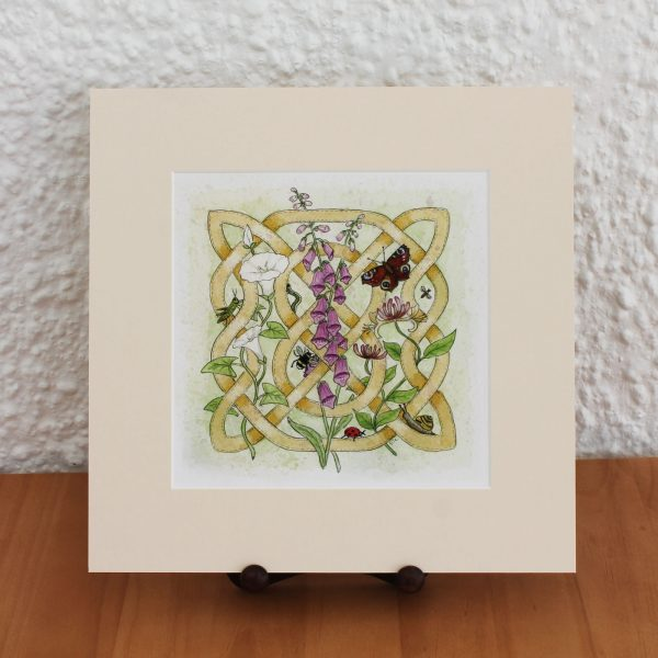 celtic flora hedgerow mounted print
