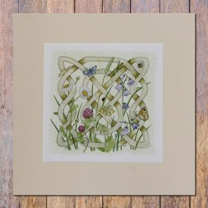 celtic flora meadow mounted print