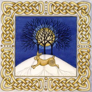 celtic hare christmas card