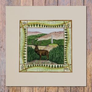galloway red deer range mounted print