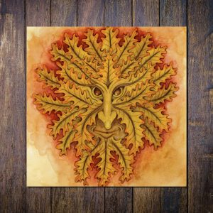 autumn greenman greetings card