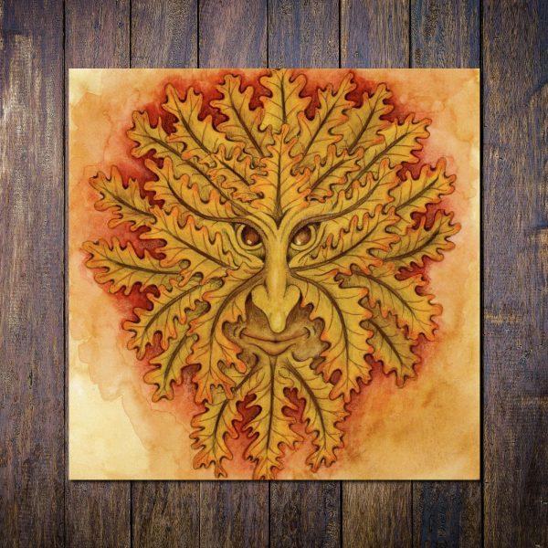 autumn greenman greetings card