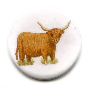 highland cow pocket mirror