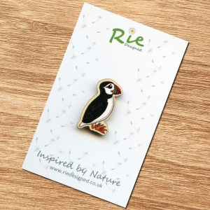 puffin wooden brooch