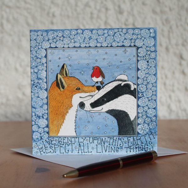 badger and fox christmas card