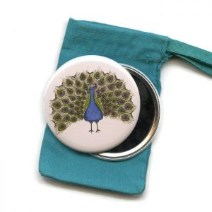 peacock pocket mirror