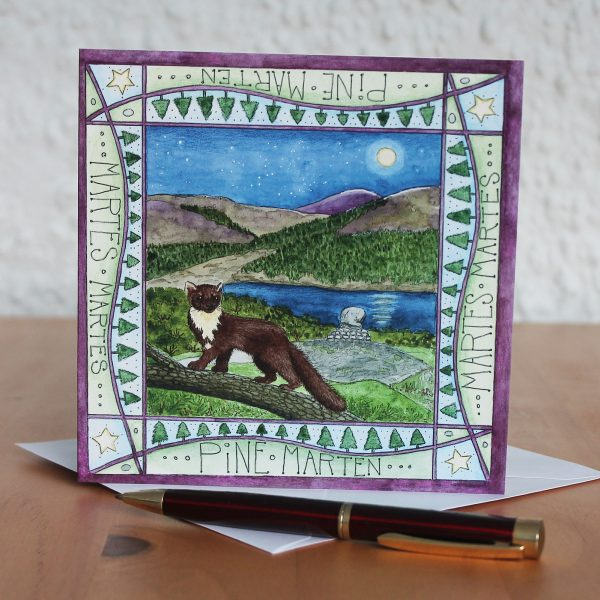 pine marten galloway greetings card