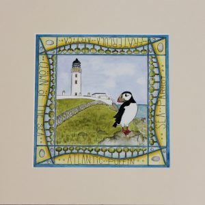puffin mull of galloway mounted print