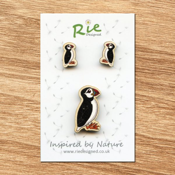 wooden puffin jewellery set
