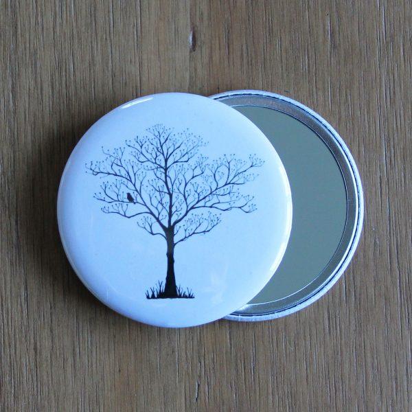 tree silhouette pocket mirror