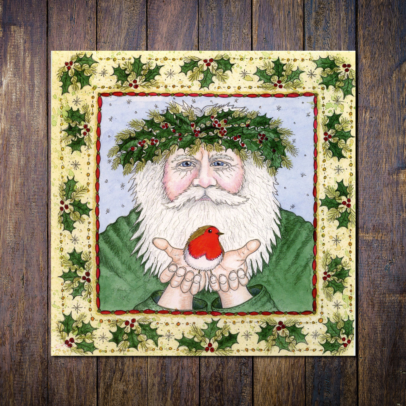 Yule Man with Robin Christmas Card, blank for your own message