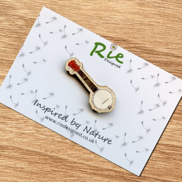 banjolele brooch pin badge