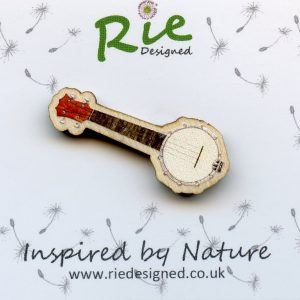 banjolele brooch pin badge