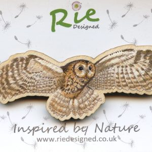 large flying tawny owl brooch