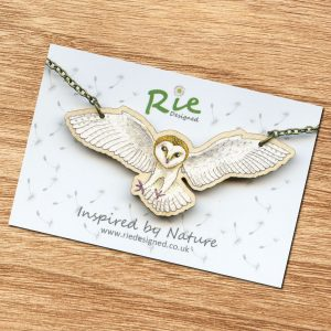 Flying Barn owl necklace
