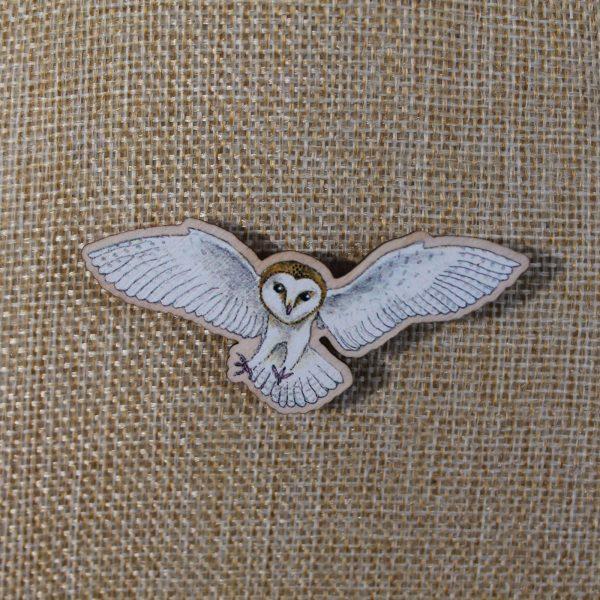 large flying barn owl brooch