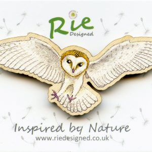 large flying barn owl brooch