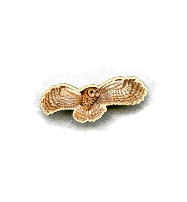 large flying tawny owl brooch
