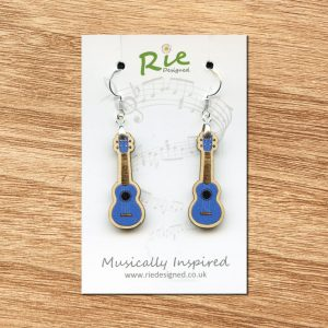 blue ukulele earrings