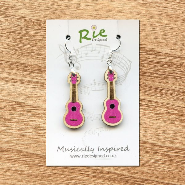 Bright pink ukulele earrings