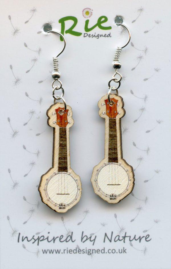 Banjolele Wood Ukulele Drop Earrings