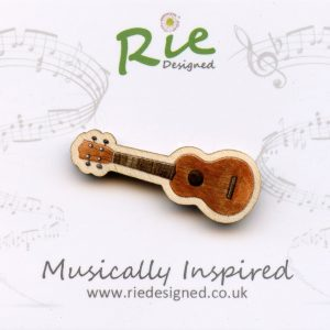 Dark Wood Ukulele Brooch