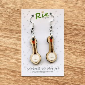 Banjolele Wood Ukulele Drop Earrings