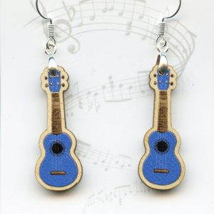 blue wood ukulele drop earrings