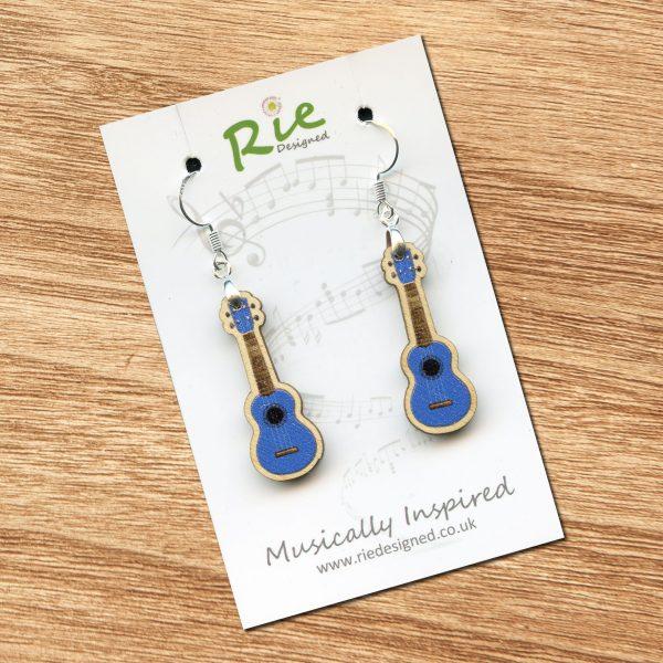 blue wood ukulele drop earrings