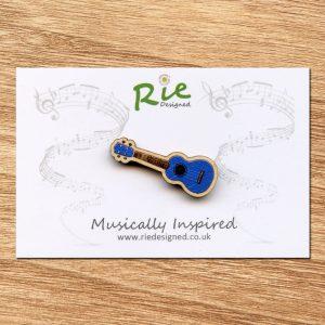 blue wooden ukulele brooch