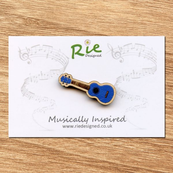 blue wooden ukulele brooch