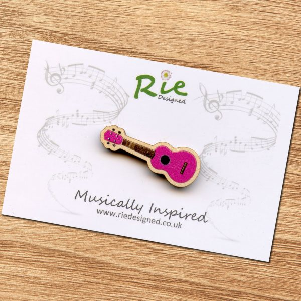 Bright Pink Ukulele Brooch