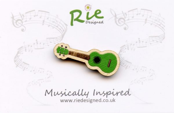 Green Wooden Ukulele Brooch