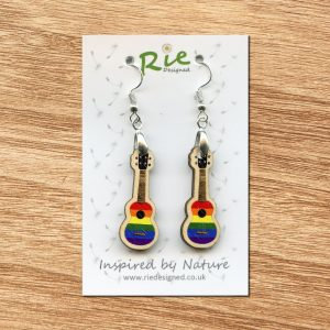 rainbow ukulele earrings