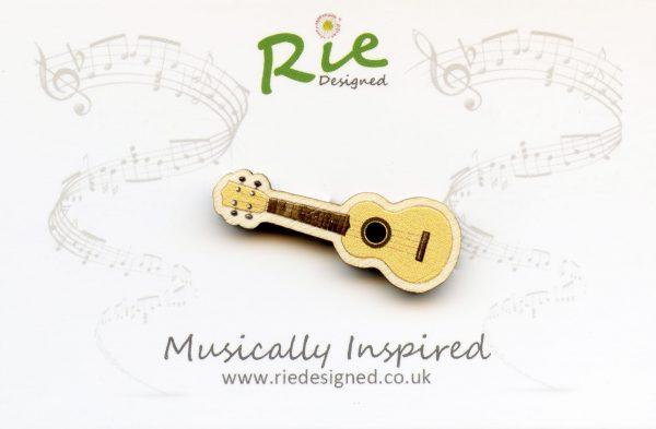 pale wood ukulele brooch