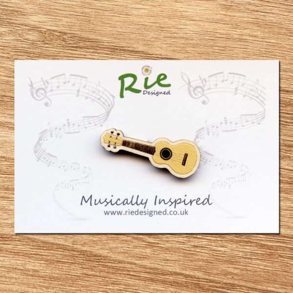 pale wood ukulele brooch