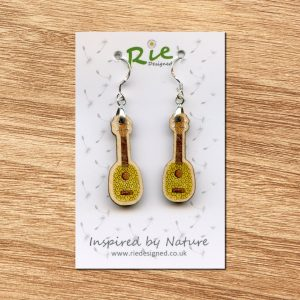 Pineapple Wood Ukulele Drop Earrings