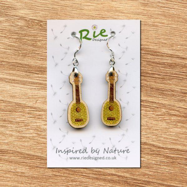 Pineapple Wood Ukulele Drop Earrings