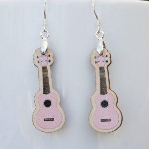 Pale Pink Wood Ukulele Drop Earrings