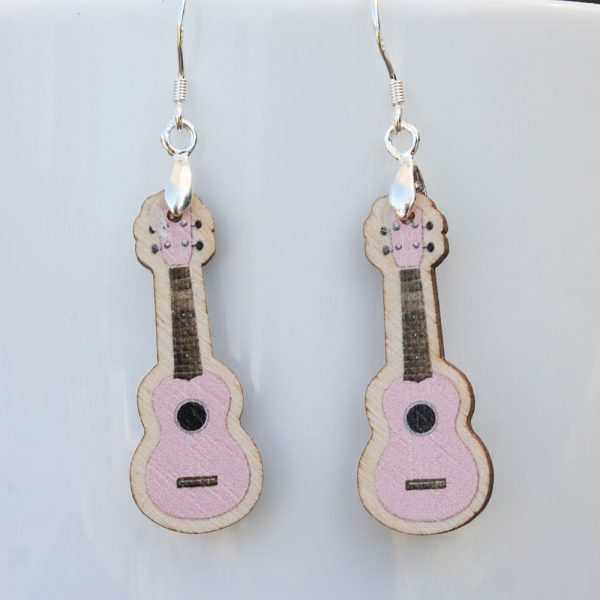 Pale Pink Wood Ukulele Drop Earrings