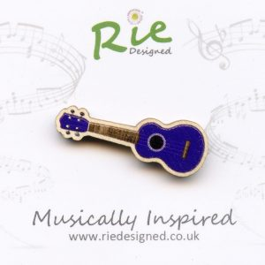Purple Wooden Ukulele Brooch