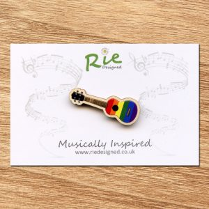 Rainbow Wooden Ukulele Brooch