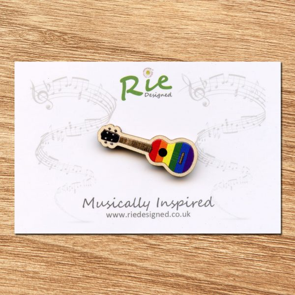 Rainbow Wooden Ukulele Brooch