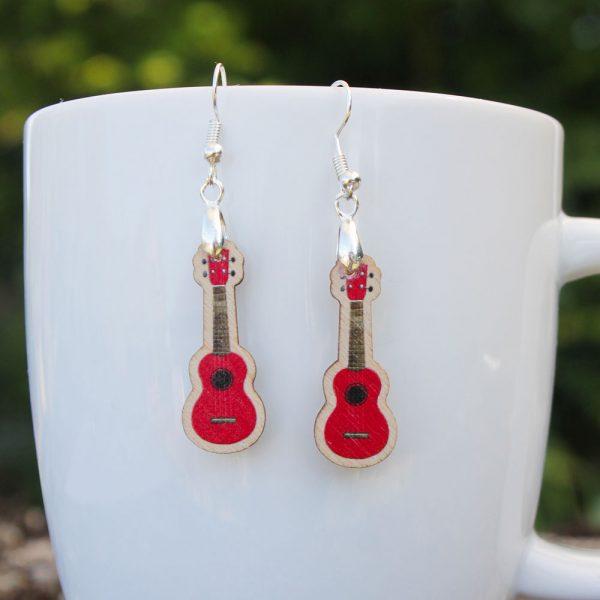 red-wood-ukulele-earrings