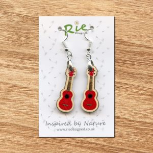 red-wood-ukulele-earrings