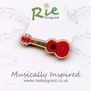 Red Wooden Ukulele Brooch